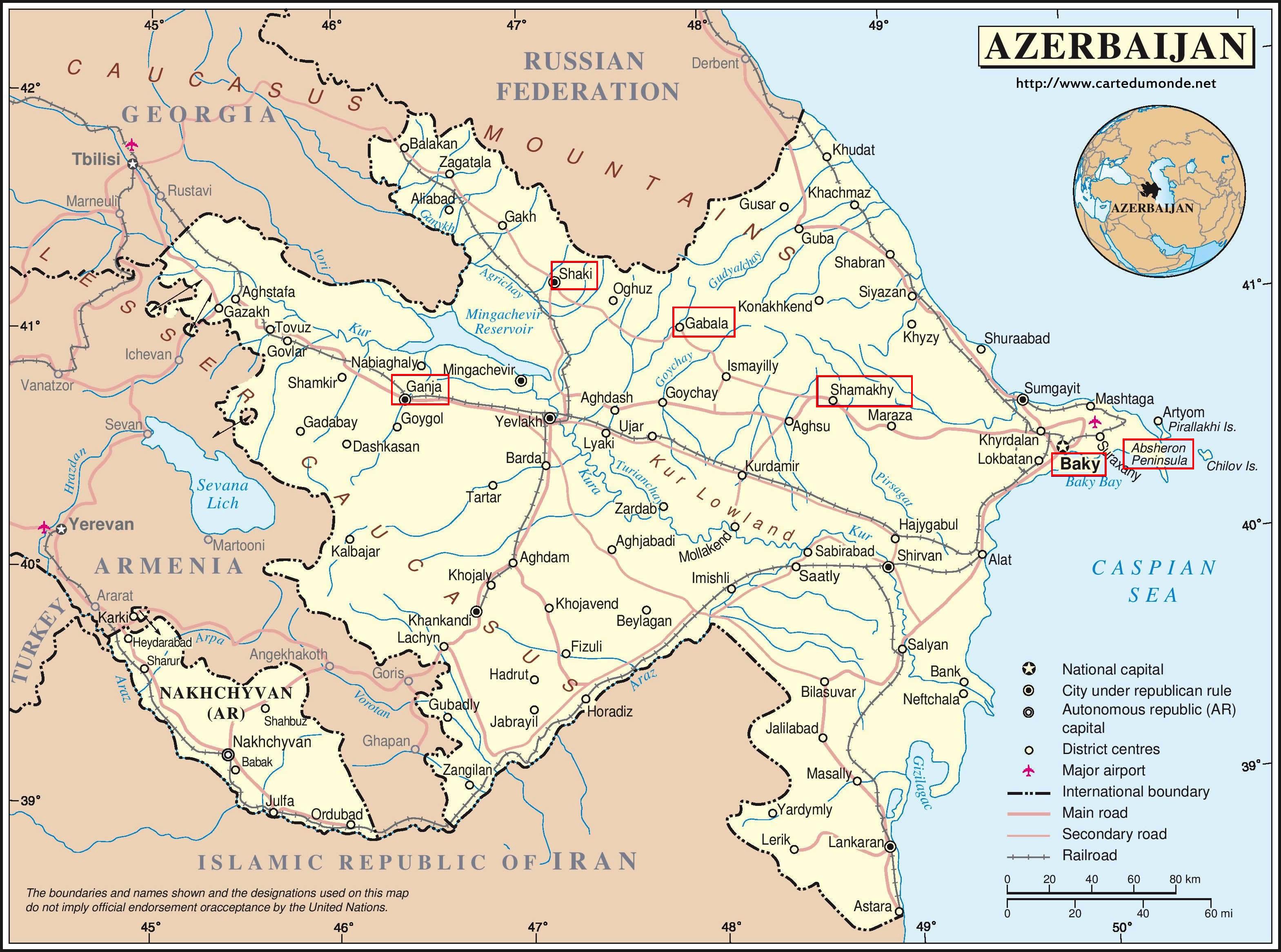 Azerbaiyán. Itinerario.