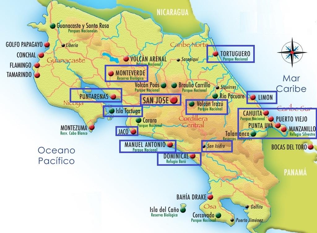 Costa Rica. Itinerario.